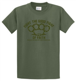 Fight the Good Fight of Faith Brass Knuckles T-Shirt