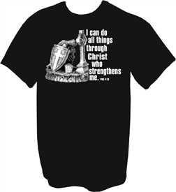 I Can Do All Things Through Christ Warrior Christian T-Shirt in Black