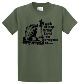 I Can Do All Things Through Christ Warrior Christian T-Shirt in Military Green