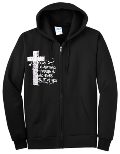 I Can Do Anything Through Him Christian Zip Hoodie Fleece