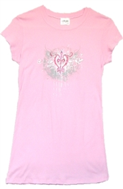 Freedom Rhinestone Cross Ladies Pink Christian Top