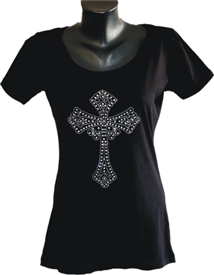 Bling Cross Ladies Black Christian Top