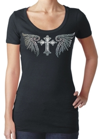 Winged Rhinestone and Stud Cross Christian Shirt in Black