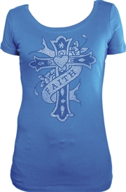 Faith Ribbon Cross Heart Ladies Blue Christian Top