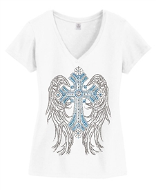Blue Bling winged cross V-Neck Christian Top