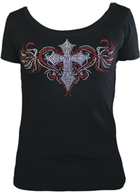Rhinestone Cross Heart Scoop Neck T-Shirt Black