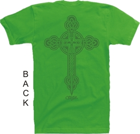 Celtic Cross Christian T-Shirt in Green