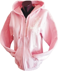 Lace Cross Pink Christian Zip Hoodie