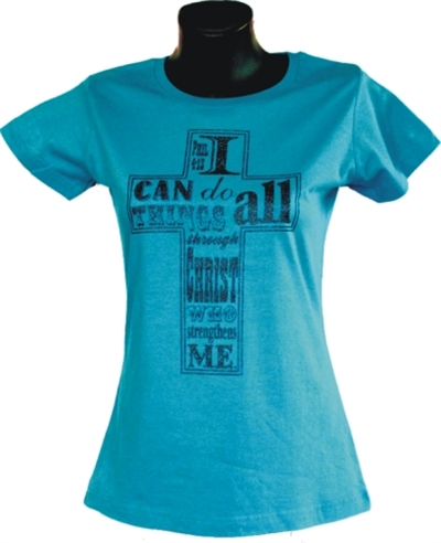 I Can Do All Things Glitter Cross Tee in Blue