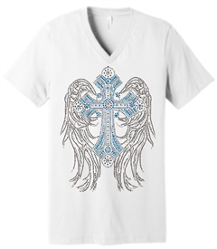 Blue Angelic Womens White Christian Top