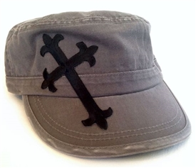 Black Satin Saints Cross Fidel Cap in Gray