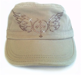 Rhinestone Cross with Wings Fidel Cap in Green