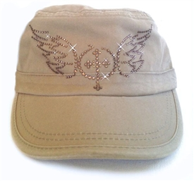 Rhinestone Cross with Wings Fidel Cap in Khaki