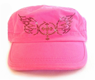 Rhinestone Cross with Wings Fidel Cap in Pink