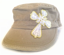 White and Gold Satin Cross Fidel Cap in Khaki