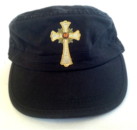 Amber Stud with Gold Cross Fidel Cap in Black