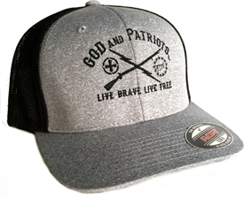 God And Patriots Patriotic Mesh Fit Flexfit Trucker Cap HB