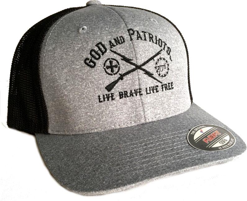 God And Patriots Patriotic Flexfit Trucker Cap HB
