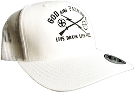 God And Patriots Patriotic Snapback Trucker Cap White