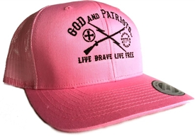 God And Patriots Patriotic Snapback Trucker Cap Pink