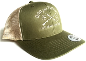 God And Patriots Patriotic Snapback Trucker Cap Olive / Khaki