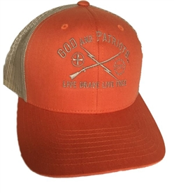 God And Patriots Patriotic Snapback Trucker Cap Orange / Khaki