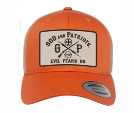 God And Patriots Patriotic YP Classics Trucker Cap Orange khaki