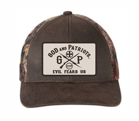 God And Patriots Patriotic Mesh Trucker Cap Camo Brown