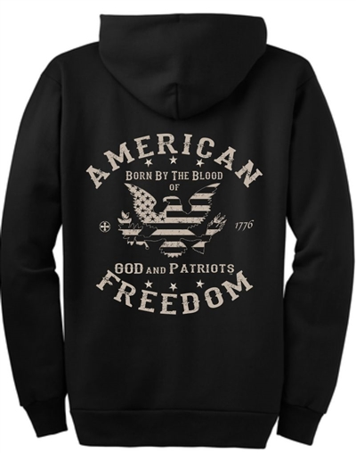 American Freedom Eagle Patriotic Zip Hoodie Sweatshirt