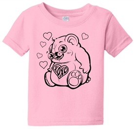 Hugs & Kisses Heart Bear Infant Toddler T-Shirt Pink