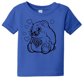 Hugs & Kisses Heart Bear Infant Toddler T-Shirt Blue