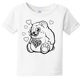 Hugs & Kisses Heart Bear Infant Toddler T-Shirt White