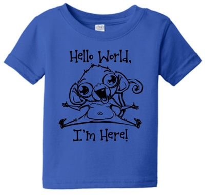 Hello World Im Here Monkey Kids T-Shirt Blue