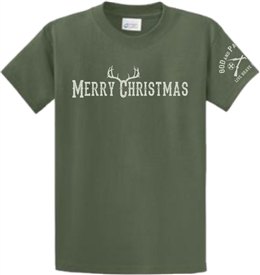 Merry Christmas Antlers Patriotic T-Shirt Green