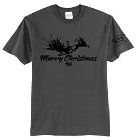 Guns From Santa Sleigh Patriotic Merry Christmas T-Shirt Gray