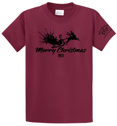 Guns From Santa Sleigh Patriotic Merry Christmas T-Shirt Red