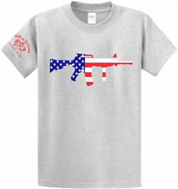 AR 15 Rifle American Flag Patriotic T-Shirt Gray