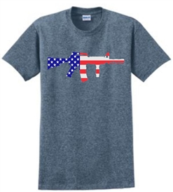 AR 15 Rifle American Flag Patriotic T-Shirt Indigo