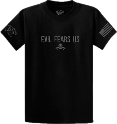 Evil Fears Us Guns and Skull T-Shirt Black