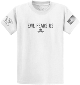 Evil Fears Us Guns and Skull T-Shirt White