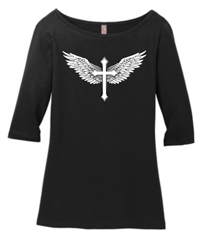 Feathered Wings and Cross 3/4 Sleeve Tee