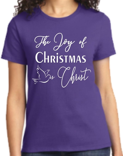 The Joy of Christmas is Christ Womens T-Shirt Purple