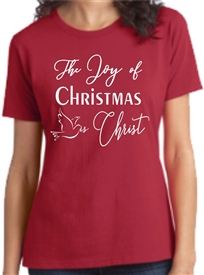 The Joy of Christmas is Christ Womens T-Shirt Red