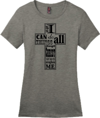 I can do all things through Christ Women's T-Shirt Gray
