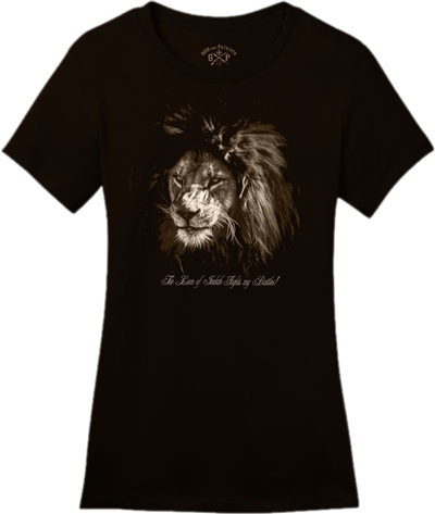 The Lion Of Judah Fights My Battles Women's T-Shirt in Black