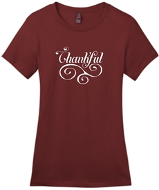 Thankful Women's Christian T-Shirt in Sangria
