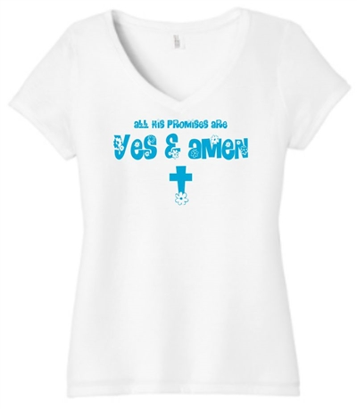 His Promises are Yes and Amen Women's V-Neck T-Shirt