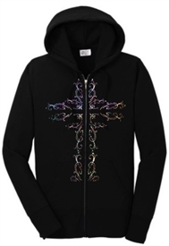 Ornamental Cross Zip Hoodie Sweatshirt