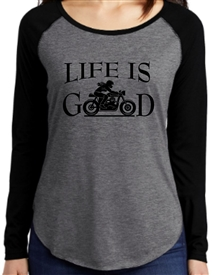 Life Is Good Biker Girl Long Sleeve Raglan Tee Shirt in Black and Gray.