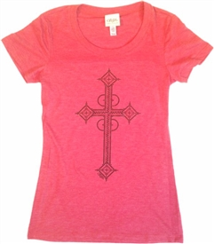 Black Foil Cross Women's Scoop Neck T-Shirt Red